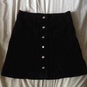 Cute button down black Zara suede skirt small